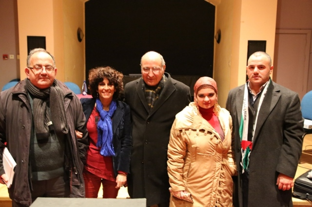 After the seminar organised by Garden of Knowledge Malta. From left: Prof Peter Mayo, Cinnia Salum, Dr Salim Nazzal, myself and Palestinian Embassy Representative Fadi Hanania